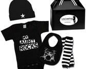 My Aunt Rocks Gift Set onesie, hat, leg Warmers & drums bib ... Unisex!