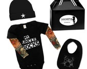 My Uncle Rocks Tattoo Baby Gift Set -black onesie with tattoo sleeves, Drums Bib, Hat and gift box option