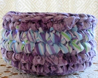 Home Decor - Bedroom Decor - Bathroom Decor - Boho Decor - Cloth Basket - Fabric Basket - Handmade - Purple Basket - Unbreakable Bowl