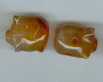 Set of 5 Pig Orange Carnelian Striped Gemstone Beads 905
