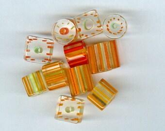 Orange Yellow Cane Glass Beads Mixed sizes and shapes 930