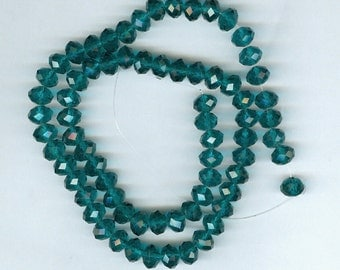 8x6mm Faceted Teal Green Glass Abacus Rondelle Beads
