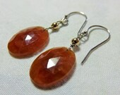 LAST DAY 20% OFF (Code:SALE20) Natural orange color rose cut oval Sapphire gemstone, and 14K Solid White Gold Earwires