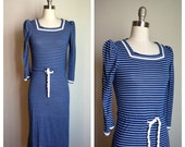 1980s sailor girl STRIPES fitted dress
