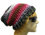 Mens Hat Striped Slouchy Beanie Crochet Slouch Beanie Hat One Of A Kind  Ready to Ship