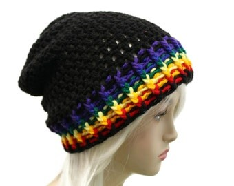 Slouchy Beanie Mens or Womens Black Rainbow Striped Slouch Hat