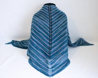 Crassula Shawl knitting PATTERN - striped modern minimalist knit shawl - permission to sell finished items