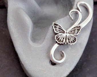 FLUTTERBY SWEEP EARRING -  One Sterling Silver Butterfly Ear Pin Earring -  925 Handcrafted