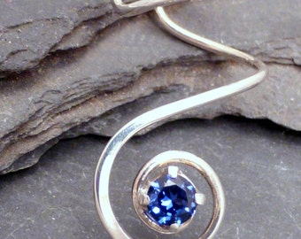 Sterling Ear Cuff - VORTEX - Handcrafted Silver 925 Sapphire Earcuff