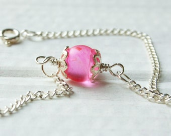 Neon Pink Marble Anklet, Bridesmaid Jewelry