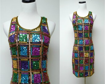 Laurence Kazar . 80s 90s multi-colored beaded sleeveless silk dress . small