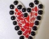 mosaic heart refrigerator magnet orange and black