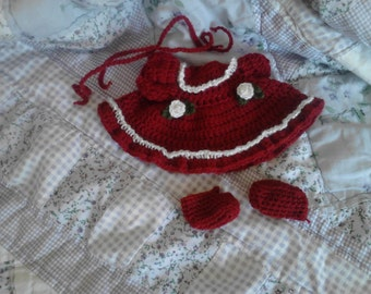 Dark Red Long Sleeved Dress For My 6.5in Curly Girl Dolls