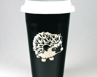 Hedgehog Travel Mug - insulated lidded coffee cup