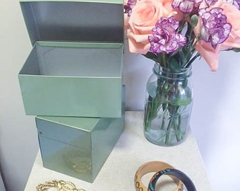 Sweet Vintage 60s 70s Industrial Metal Tin Green Index Recipe Boxes
