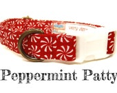 "Red White Peppermint Candy Festive Christmas Dog Collar - Organic Cotton - Antique Brass Hardware - ""Peppermint Patty"""