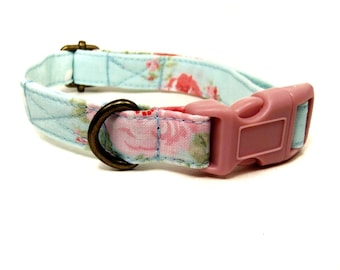 French Country - Organic Cotton CAT Collar Breakaway Safety - Green Vintage Floral - All Antique Brass Hardware