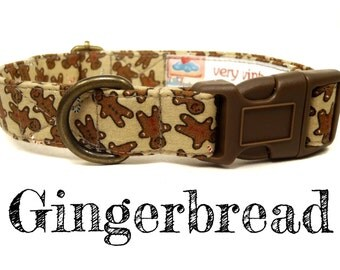 "Brown Gingerbread Man Christmas Dog Collar - Organic Cotton - Antique Brass Hardware - ""Gingerbread Man"""