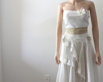 Rustic Alternative Wedding Dress Crochet Lace Tattered Bride Woodland Fairy French Country Shabby Garden Bridal Gown Handmade One of a Kind