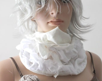 Floaty White Wedding Cowl Hood Tube Scarf Cream Neck Ruff Layered Fabric Collar Dystopian Cloth Necklace Fluffy Snood Scarf