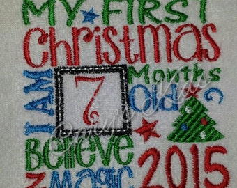 My First or Merry Christmas I am this many Tshirt Bodysuit any size embroidered monogrammed