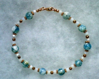 8mm Blue and White Shell Beads In Beaded Bracelet of Recyclable Copper