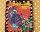 Recycled Vintage Greeting Card - It's Thanksgiving - Crochet Ornament / Card / Tag