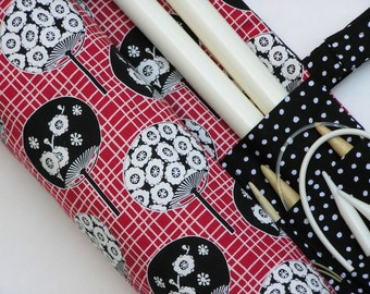 large knitting needle case - circular case - dpn storage - red, black and white floral fans - 36 pockets