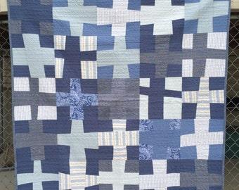 Blue Boy Quilt Wonky Cross
