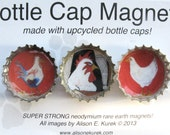 Chicken Magnets - Rooster Magnets - Rooster and Hen Bottle Cap Magnets - Packaged Gift Set of 3 - Chicken Gifts