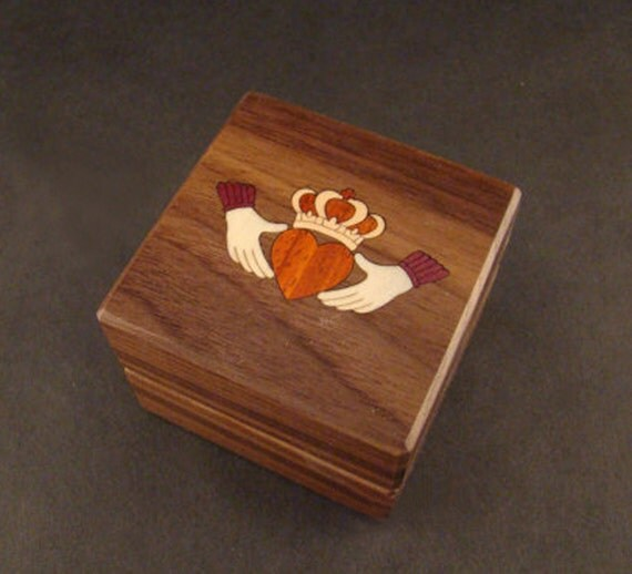 Custom Engagement Ring Box Claddagh Wolf Cat Music Unique