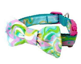 2015 Shorely Blue Double Trouble Dog Collar and Bow Set Made from Lilly Pulitzer Fabric Size: Your Choice