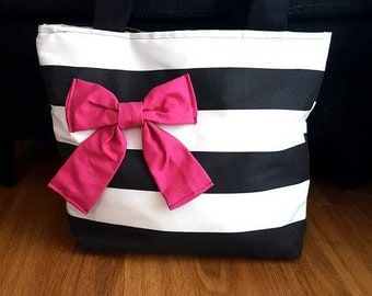 Black and white striped cotton bag with pink bow