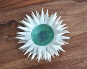 Copper Blue Micro Urchin Bowl - Porcelain White Ceramic Sculpture Sea Urchin bowl