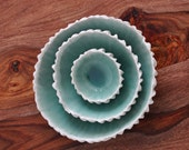 Copper Blue Ceramic Nesting Bowls - White Ceramic Bowl Set Handmade Porcelain Bowls