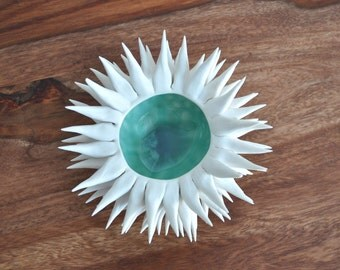 Copper Blue Micro Urchin Bowl - Porcelain White Ceramic Sculpture Sea Urchin bowl