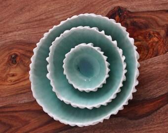 Copper Blue Ceramic Nesting Bowls - White Ceramic Bowl Set Handmade Porcelain Bowls Serving Bowls