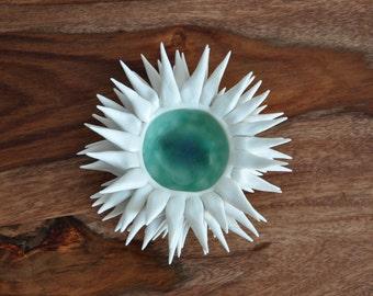 Copper Blue Urchin Bowl -  Sea Urchin Bowl Beach Decor Coastal
