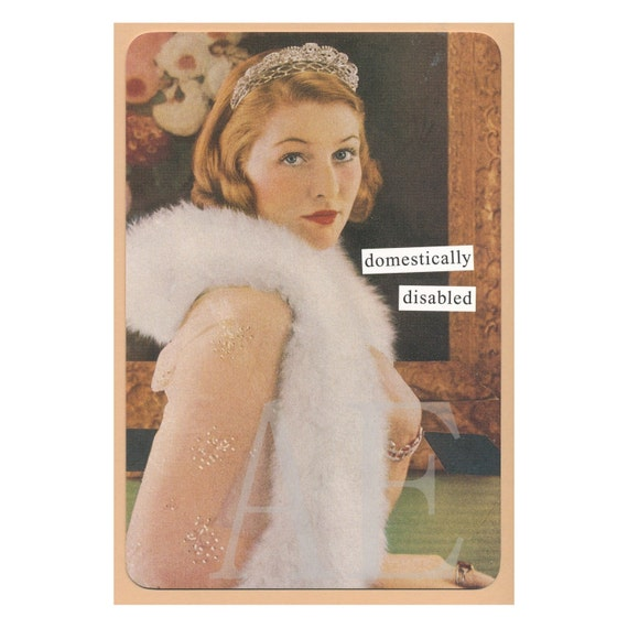 ATPC18 Anne Taintor Postcard Magnet domestically disabled – Anne Taintor Birthday Cards