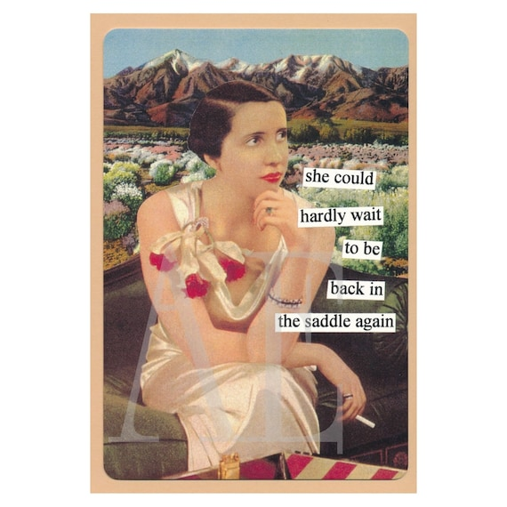 ATPC55 Anne Taintor Postcard Magnet she could hardly wait – Anne Taintor Birthday Cards