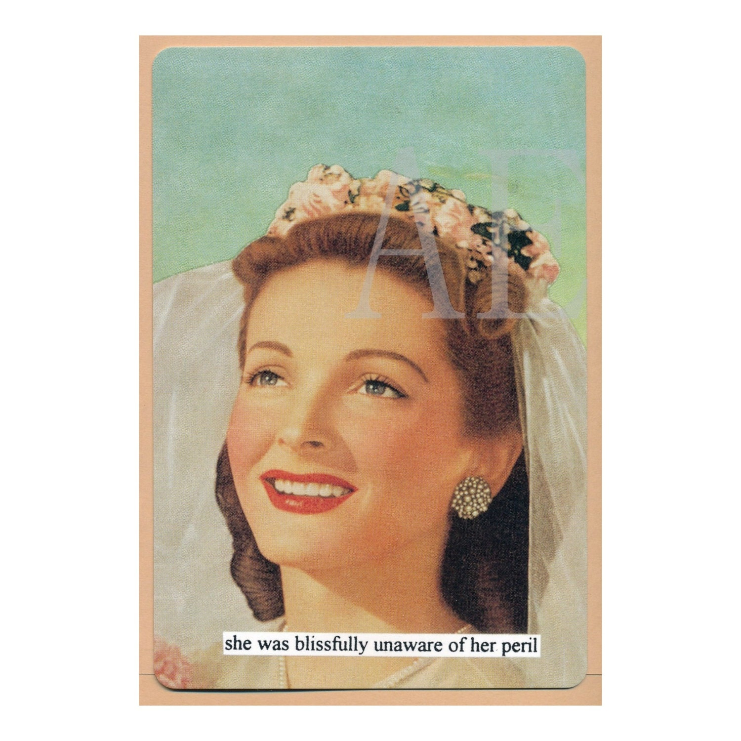 ATPC52 Anne Taintor Postcard Magnet she was blissfully – Anne Taintor Birthday Cards