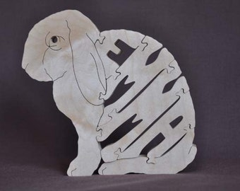 Personalized EMMA Lop Eared Rabbit Bunny Animal Puzzle Wooden Toy Hand  Cut with Scroll Saw