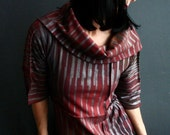 By Her Side - iheartfink Handmade Hand Printed Womens Vertical Metallic Stripes Cowl Neck Red Jersey Top