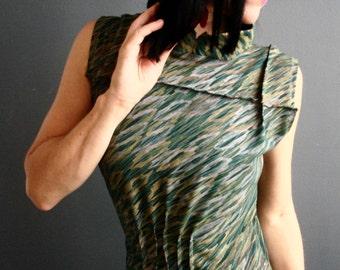 The Perfect World - iheartfink Handmade Hand Printed Womens Dark Green Mandarin Collar Sleeveless Jersey Dress