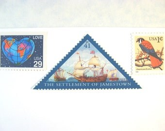 Vintage Postage Stamps Unused, Love Globe Heart, Ship Stamps. Bird, Mail 20 Nautical Wedding Invitations 2 oz 71 cent postage, Virginia hawk