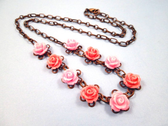 SALE - Pink Beauty Rose Necklace, Marie Antoinette Inspired, Flower Cabochon and Brass Beaded Necklace, FREE Shipping U.S.