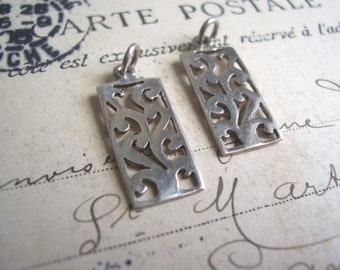 Sterling Silver Filigree Rectangle charms - ornate trees hand pierced - handmade - 17mm - 925