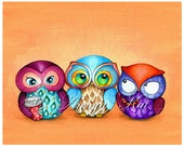 Owl Art, Whimsical Owl Print, Funny Owl Painting, Owl Wall Art, Owl Decor, Coffee Owl by Annya Kai