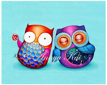 Owl Art - Night Owl Morning Owl - Colorful Bird Artwork Best Friends Cute Couple