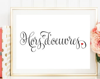 Hors d'oeuvres Sign, Hors d'oeuvres Wedding Sign, Printed Wedding Sign